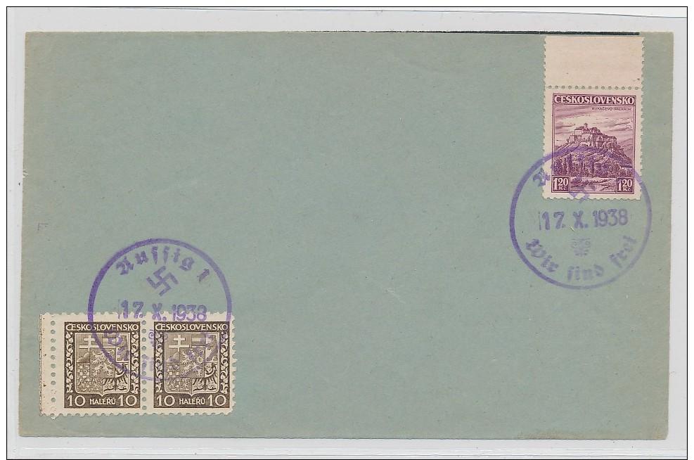 D.-Reich -Sudeten  Stempel Beleg   ( G3563 ) Siehe Foto - Besetzungen 1938-45