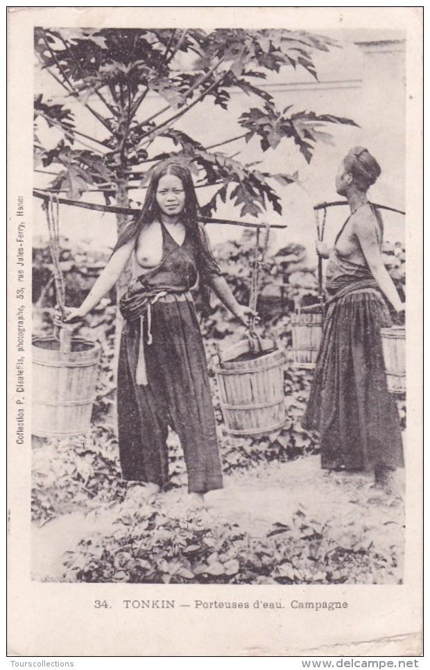 CPA VIET NAM - INDOCHINE @ TONKIN - Porteuses D'eau à La Campagne - Métier - Femme Sein Nu - Dieulefils N° 34 - Viêt-Nam