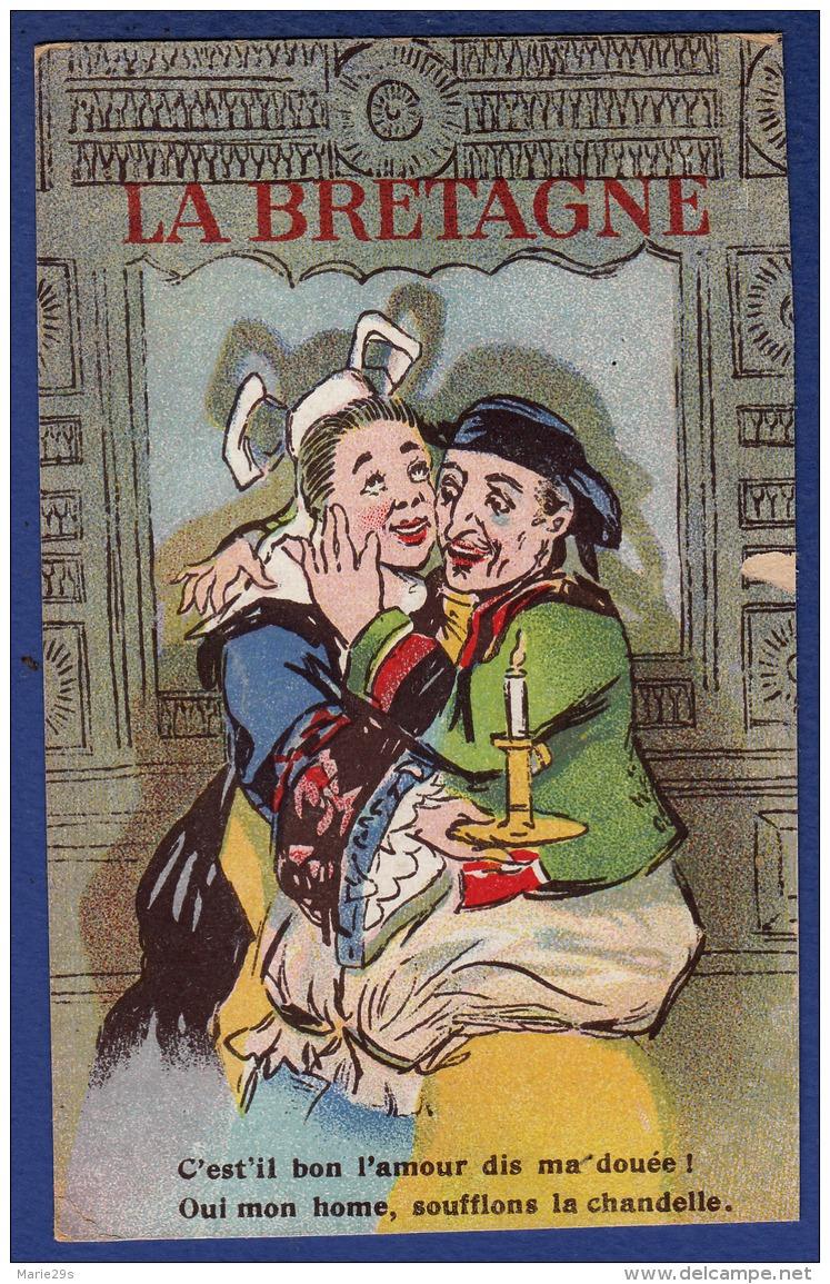 BRETAGNE C'est-il Bon L'amour Dis Ma Douée ! Oui Mon Home (homme) Soufflons La Chandelle - Animée - Colorisée - Bretagne