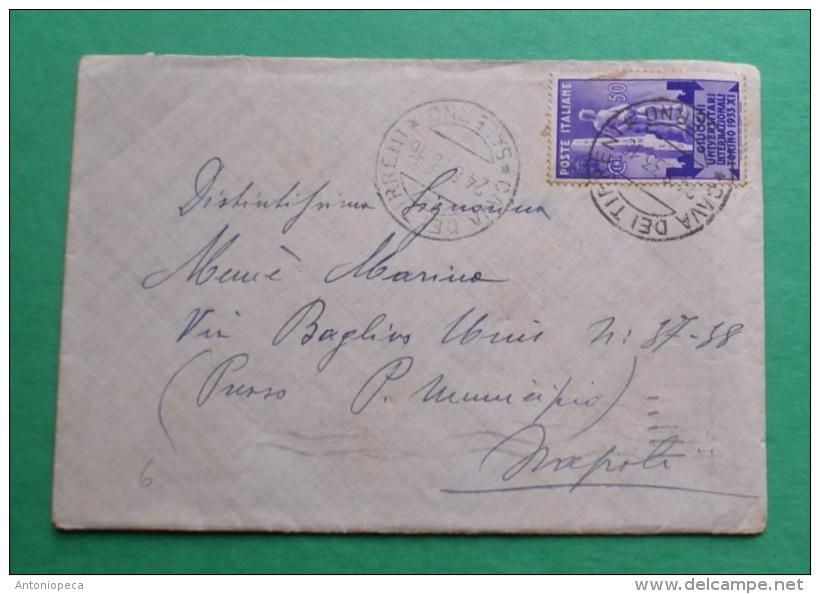 ITALIA REGNO 1933, GIOCHI UNIVERSITARI   CENT 50  SU BUSTA  VIAGGIATA - 1900-44 Vittorio Emanuele III