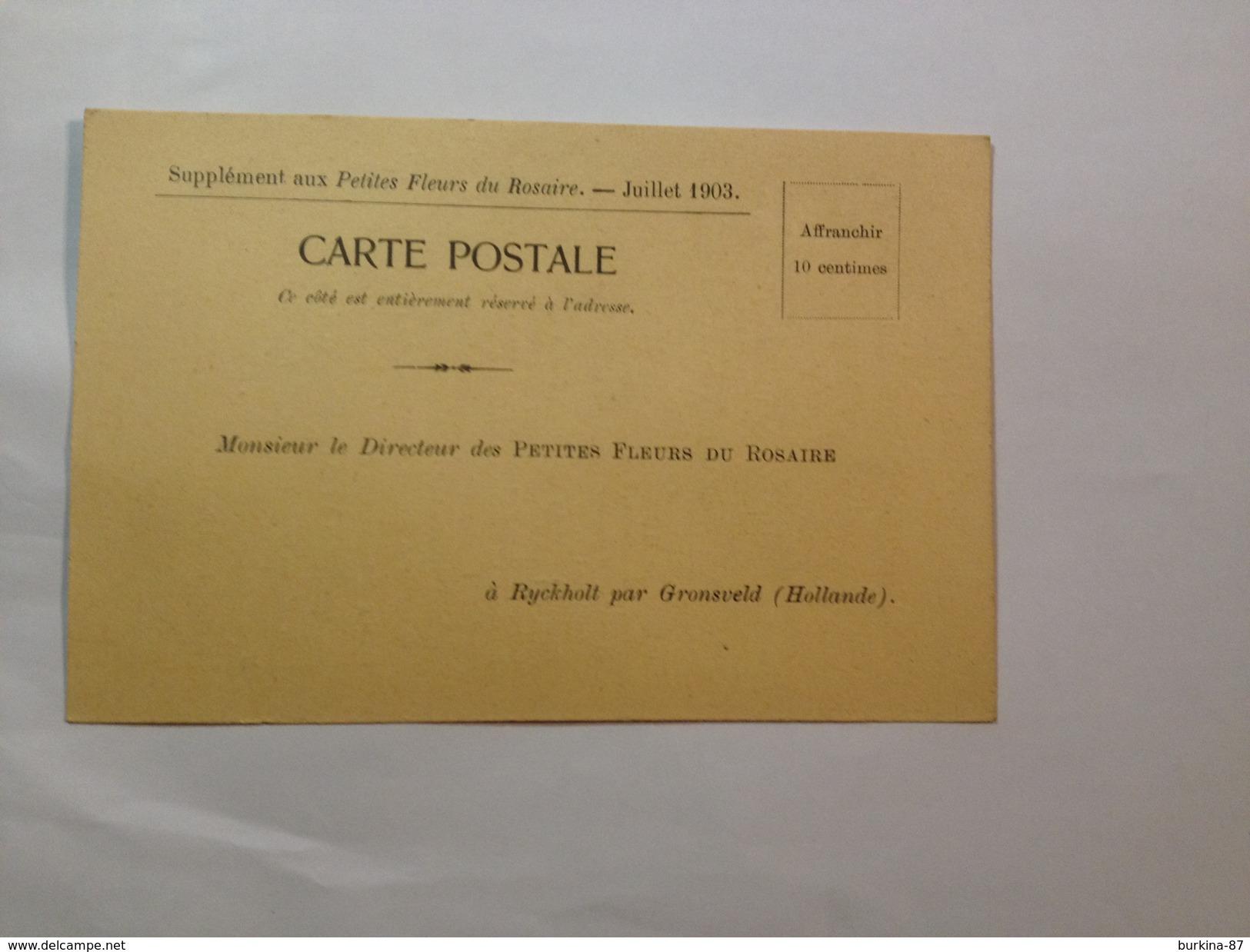 CARTE POSTALE, LES PETITES FLEURS DU ROSAIRE, 1903, BULLETIN ABONNEMENT VIERGE - Français