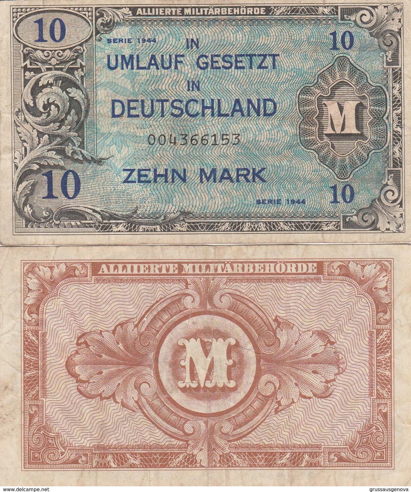 8065) 10 ZEHN MARK GERMANIA OCCUPAZIONE ALLEATA DEUTSCHLAND UMLAUF GESETZT OCCUPATION DES ALLIES EN ALLEMAGNE - [ 5] 1945-1949 : Occupazione Degli Alleati