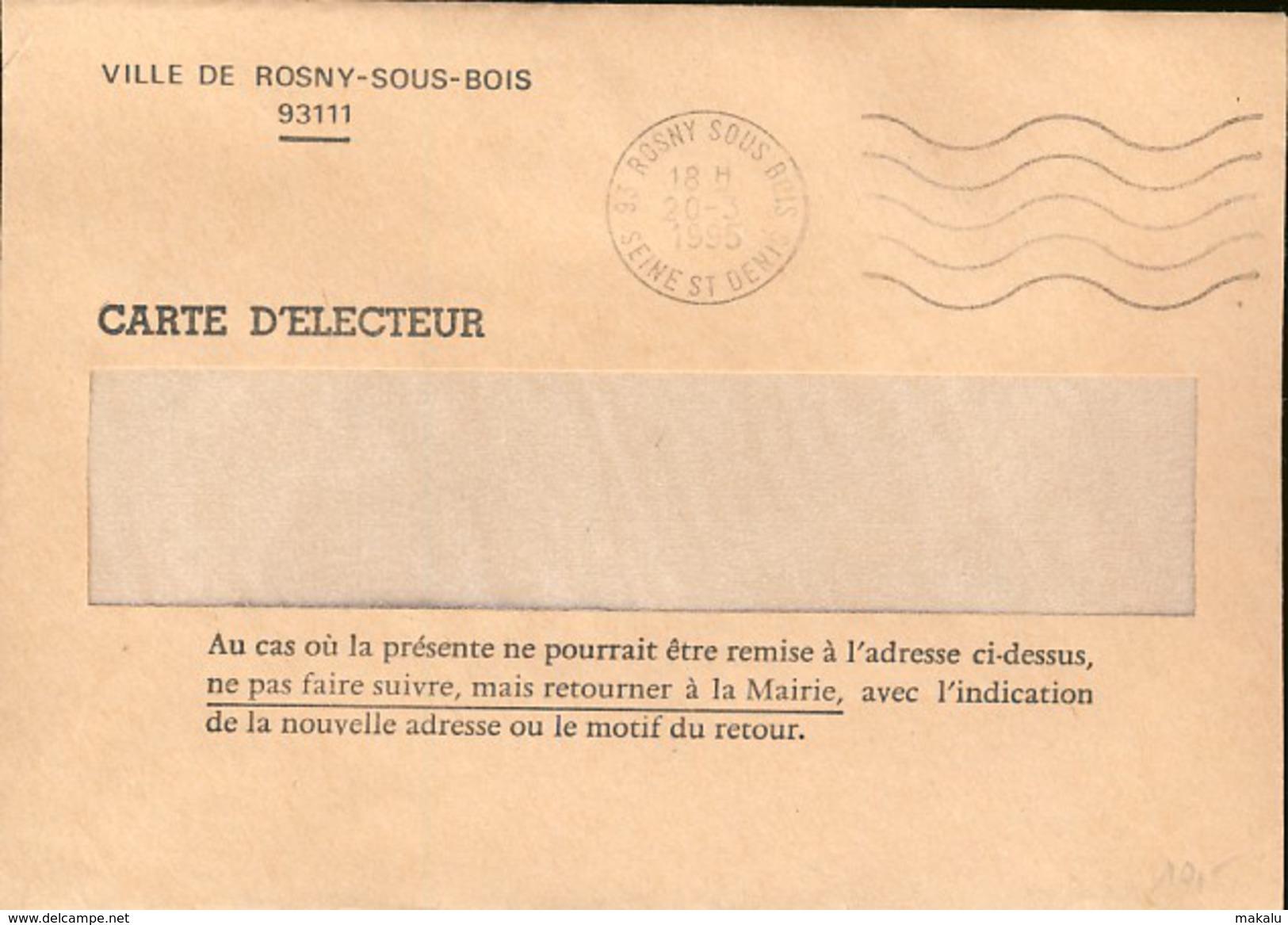 France : Enveloppe Envoi Carte Electeur, Présidentielle De 1995 Chirac (733) - Celebrità