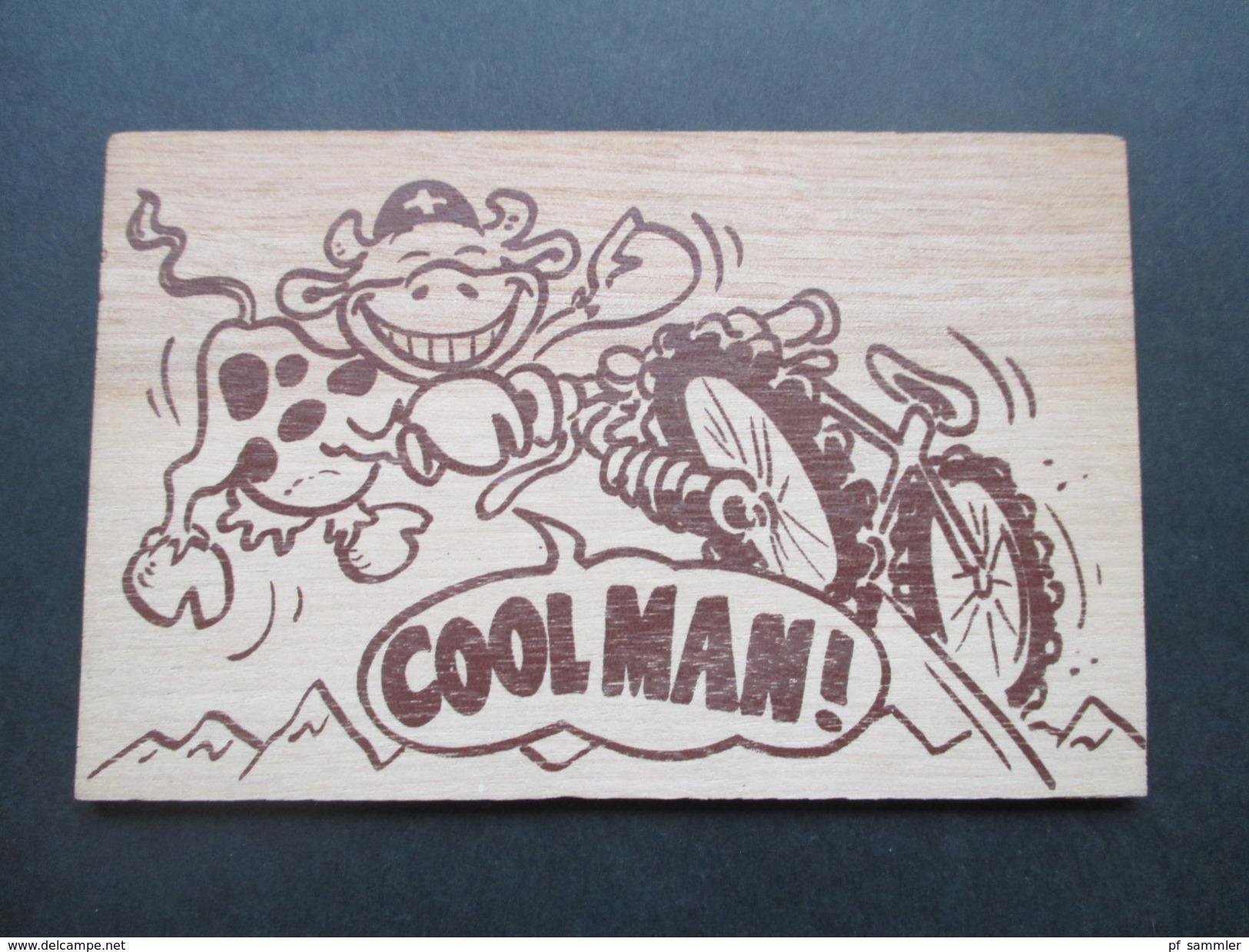 AK Echtholz / Schweizer Holzpostkarte Schweiz 1996 Coolman. Thomy's Design. Emmenbrücke - Sonstige