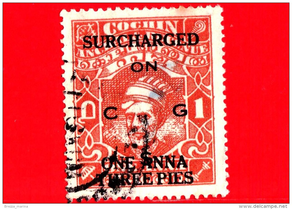 India - Cochin Anchal - Usato - 1944 - Maharaja Sri Kerala Varma II - Sovrastampato - 1.3 Su 1 - Cochin