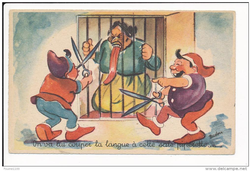 Carte Humoristique Dessin Illustrateur  Budou  Langue De Vipère Potinière Langue Trop Longue ( Recto Verso ) - Illustrators & Photographers