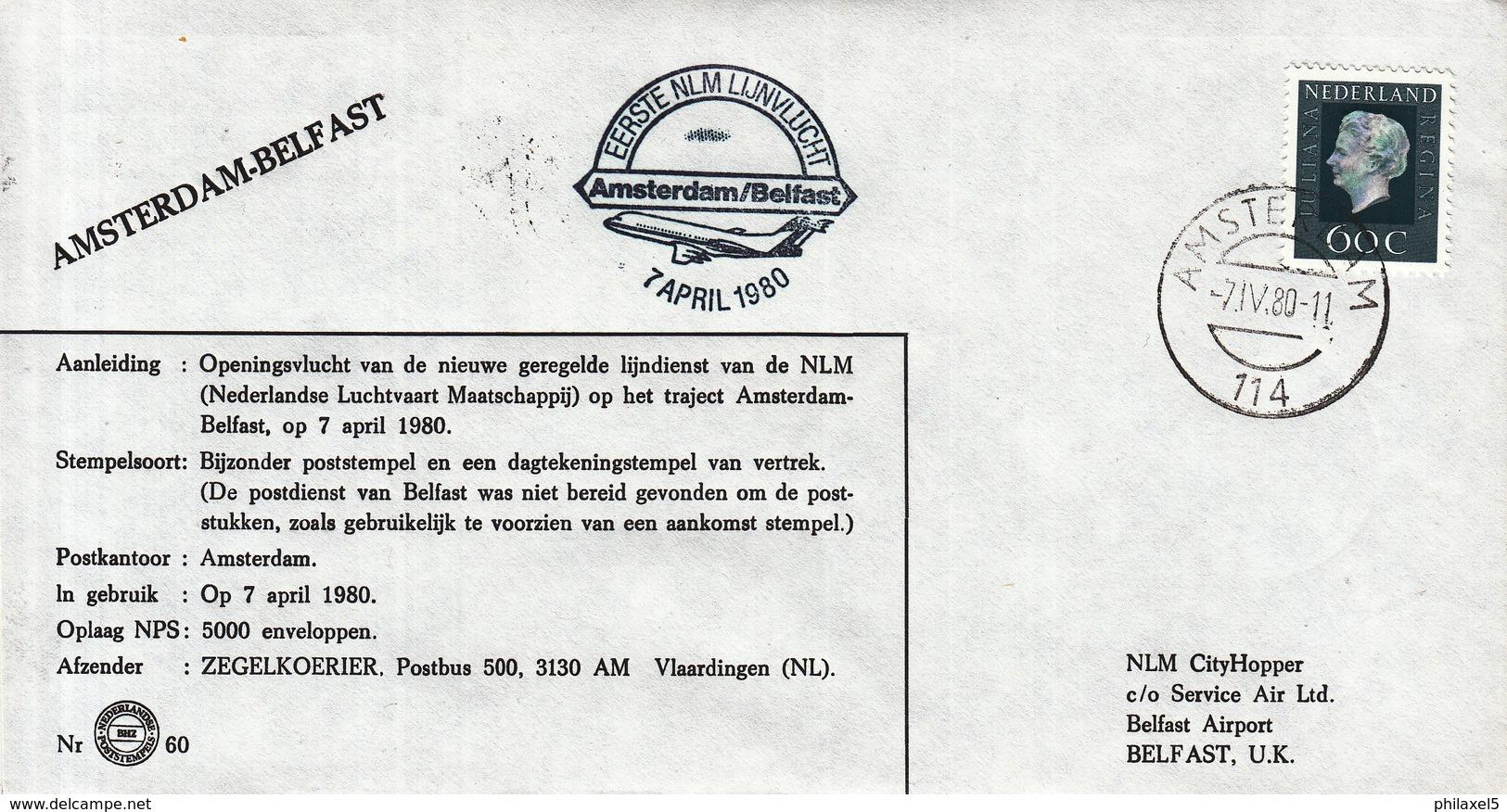 Nederland - 7 April 1980 - Eerste NLM Lijnvlucht Amsterdam-Belfast - Z 60 - Marcofilie - EMA (Print Machine)