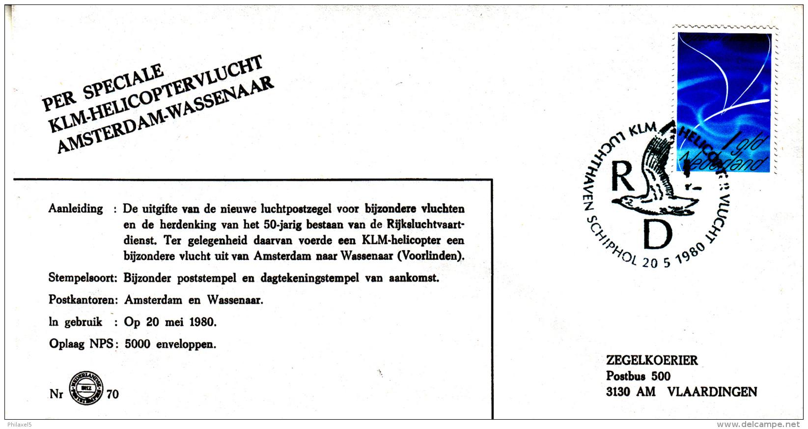 Nederland - 20 Mei 1980 - KLM Helicoptervlucht Amsterdam-Wassenaar - Luchthaven Schiphol - Z 70 - Marcofilie - EMA (Print Machine)