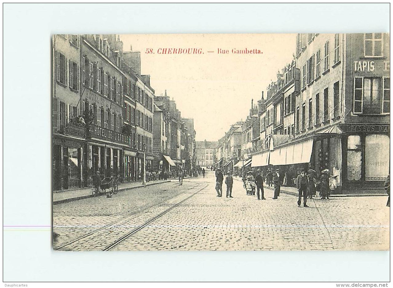CHERBOURG : Rue Gambetta, Hôtel De L'Etoile. 2 Scans. Edition ? - Cherbourg