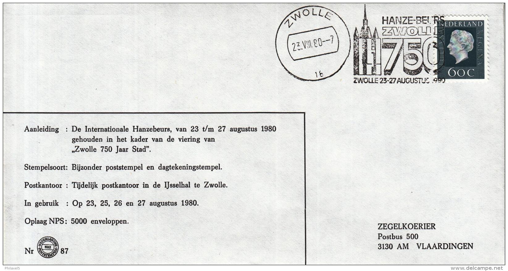 Nederland - 23/27 Augustus 1980 - Internationale Hanze Beurs - Zwolle  - Z 87 - Marcofilie - EMA (Print Machine)
