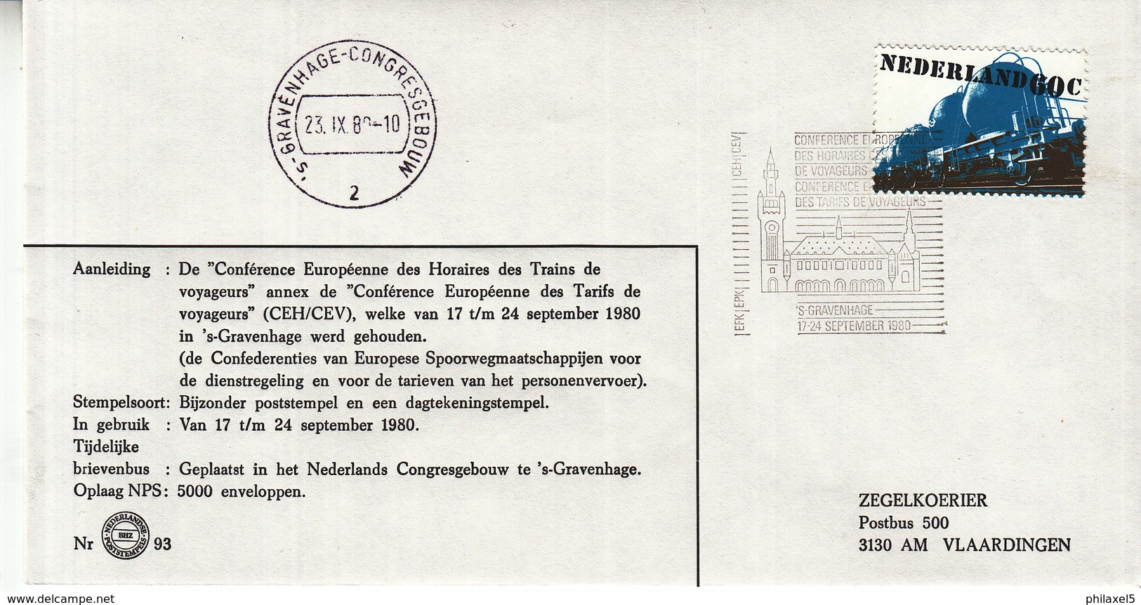 Nederland - 17/24 September 1980 - Conférence Des Horaires Des Trains De Voyageurs/des Tarifs De Voyageurs - Z 93 - Marcofilie - EMA (Print Machine)