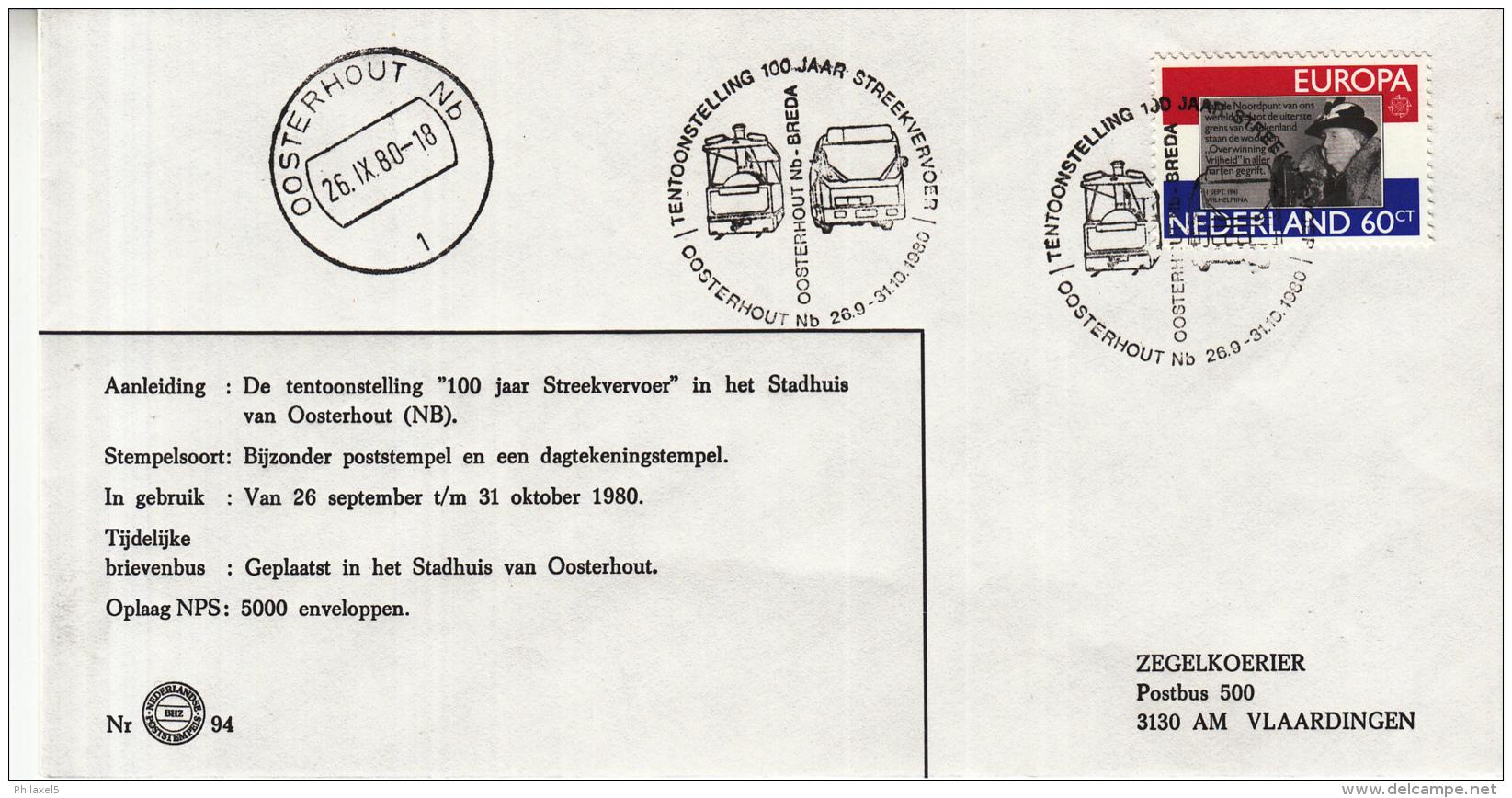 "Nederland - 26 September/31 Oktober 1980 - Tentoonstelling ""100 Jaar Streekvervoer""- Oosterhout - Z 94 - Marcofilie - EMA (Print Machine)"