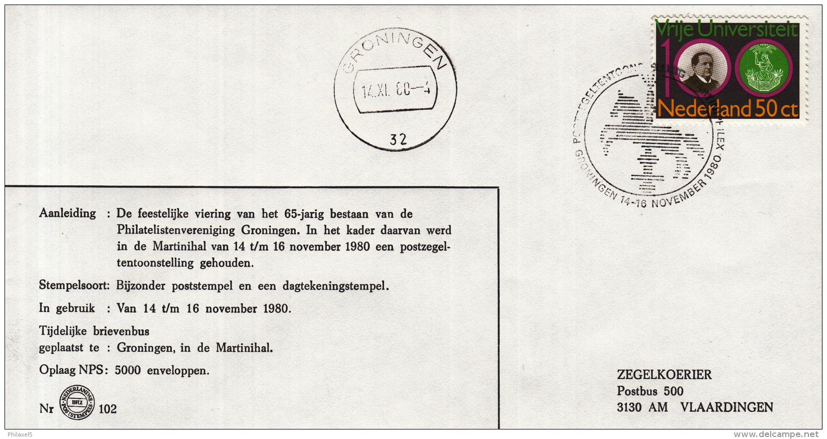 Nederland - 14/16 November 1980 - Postzegeltentoonstelling Martiniphilex 1980 - Z 102 - Marcofilie - EMA (Print Machine)
