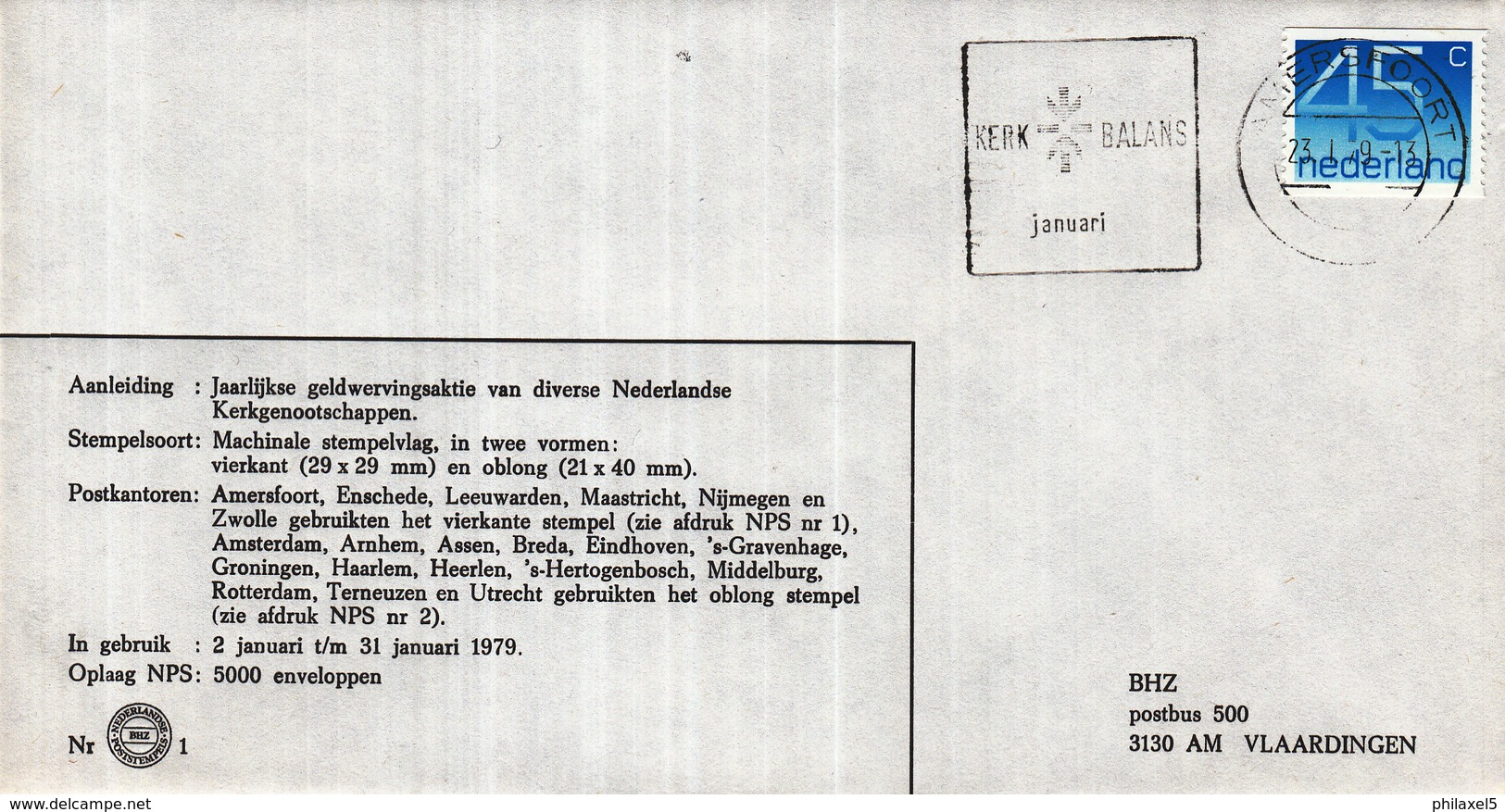 Nederland - 2/31 Januari 1979 - Kerkbalans - Amersfoort - BHZ Nr. 1 - Marcofilie - EMA (Print Machine)