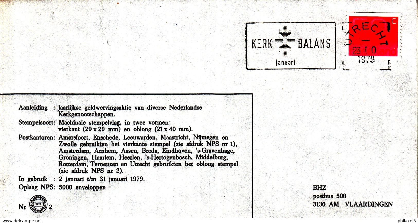 Nederland - 2/31 Januari 1979 - Kerkbalans - Utrecht - BHZ Nr. 2 - Marcofilie - EMA (Print Machine)