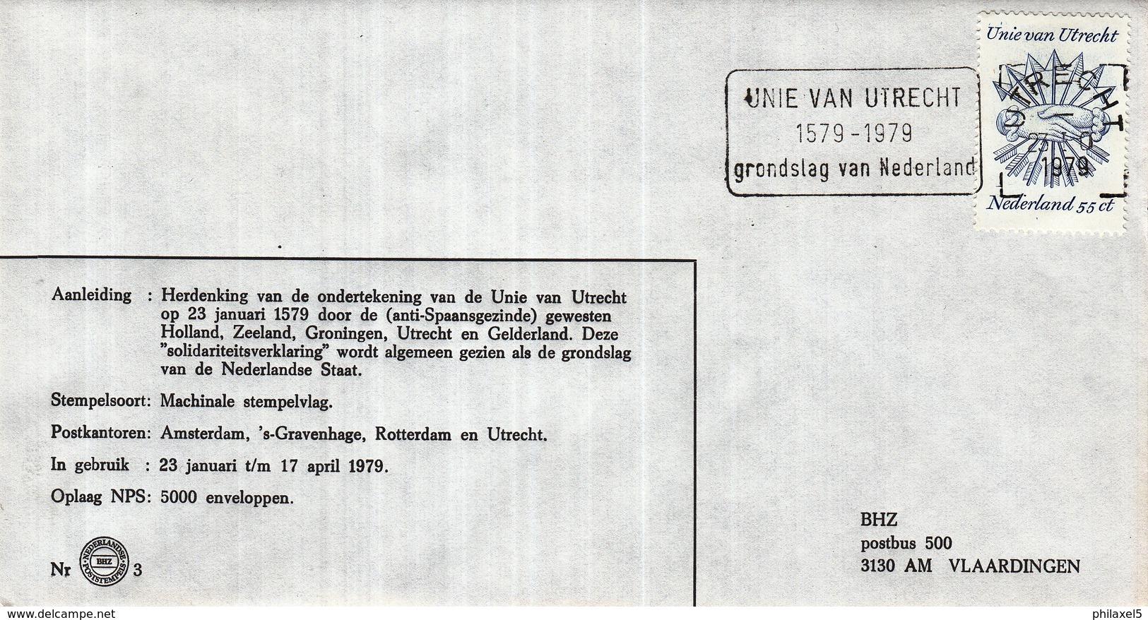 Nederland - 23 Januari/17 April 1979 - Unie Van Utrecht Grondslag Van Nederland - 1579-1979  - BHZ Nr. 3 - Marcofilie - EMA (Print Machine)