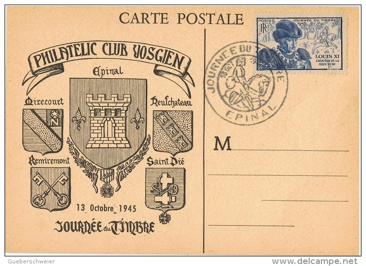 FR-CM11 - FRANCE N° 743 Carte Maximum Journée Du Timbre Epinal 1945 - 1940-49