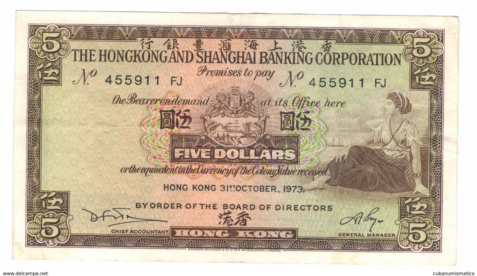 Hong Kong 5 Dollars, 1973. XF. Free Economic Ship. To USA - Hong Kong