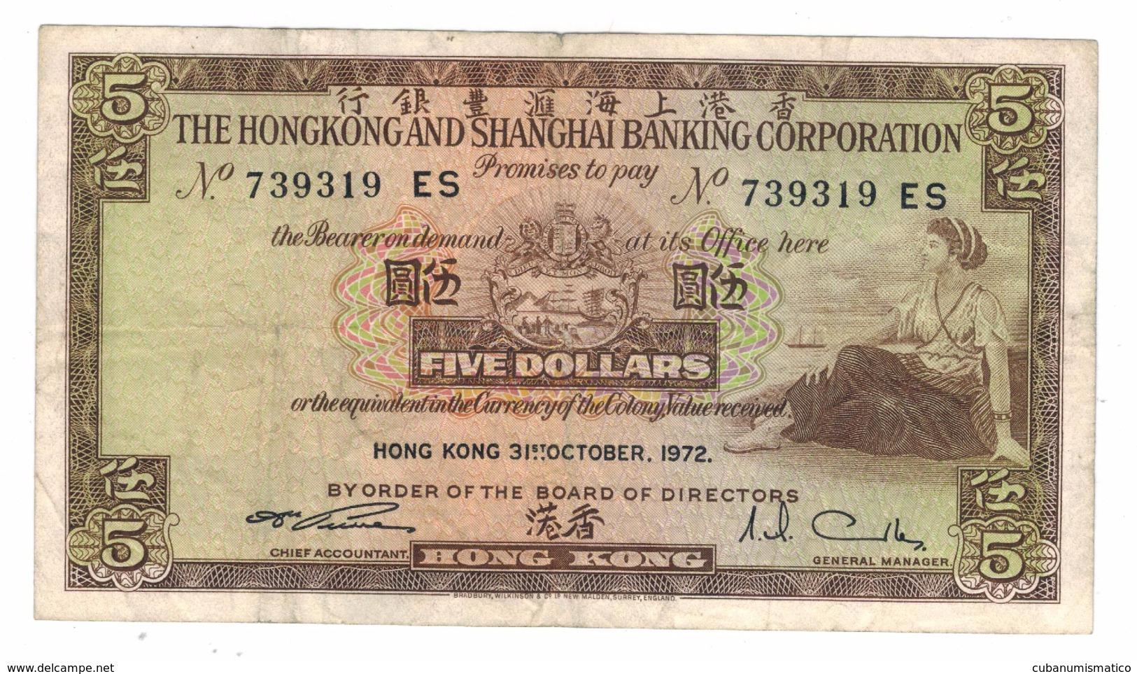 Hong Kong 5 Dollars, 1972. VF. Free Economic Ship. To USA - Hong Kong