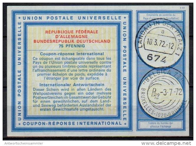 Deutschland Type XX 75 PFENNIG Int. Reply Coupon Reponse Antwortschein IAS IRC O 676 LANDAU And Redeemed BELGICA 72 - Briefmarkenausstellungen