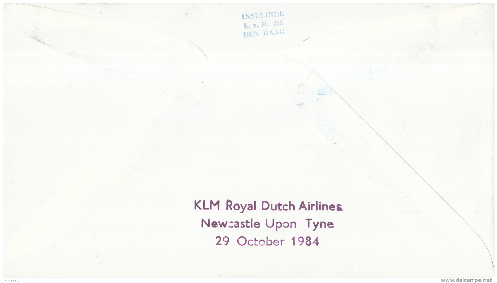 Nederland - 1ste Vlucht - 29 Oktober 1984 - Amsterdam-Newcastle - Vl. Hol. 1050a - Marcofilie - EMA (Print Machine)