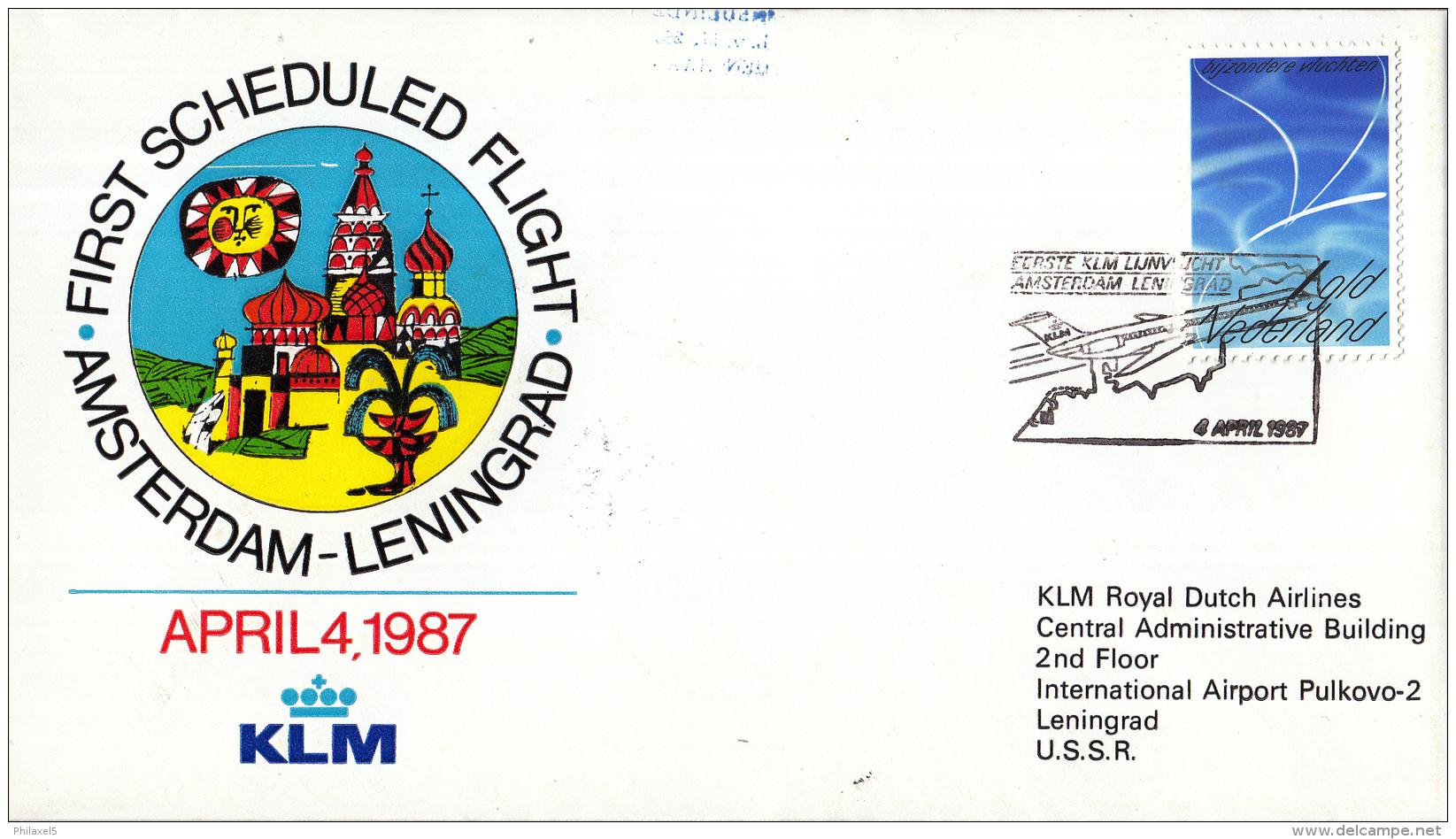 Nederland - 1ste Vlucht - 4 April 1987 - Amsterdam-Leningrad - Vl. Hol. 1080b - Marcofilie - EMA (Print Machine)