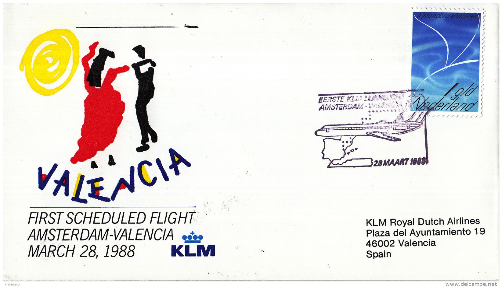 Nederland - 1ste Vlucht - 28 Maart 1988 - Amsterdam-Valencia - Vl. Hol. 1087a - Marcofilie - EMA (Print Machine)