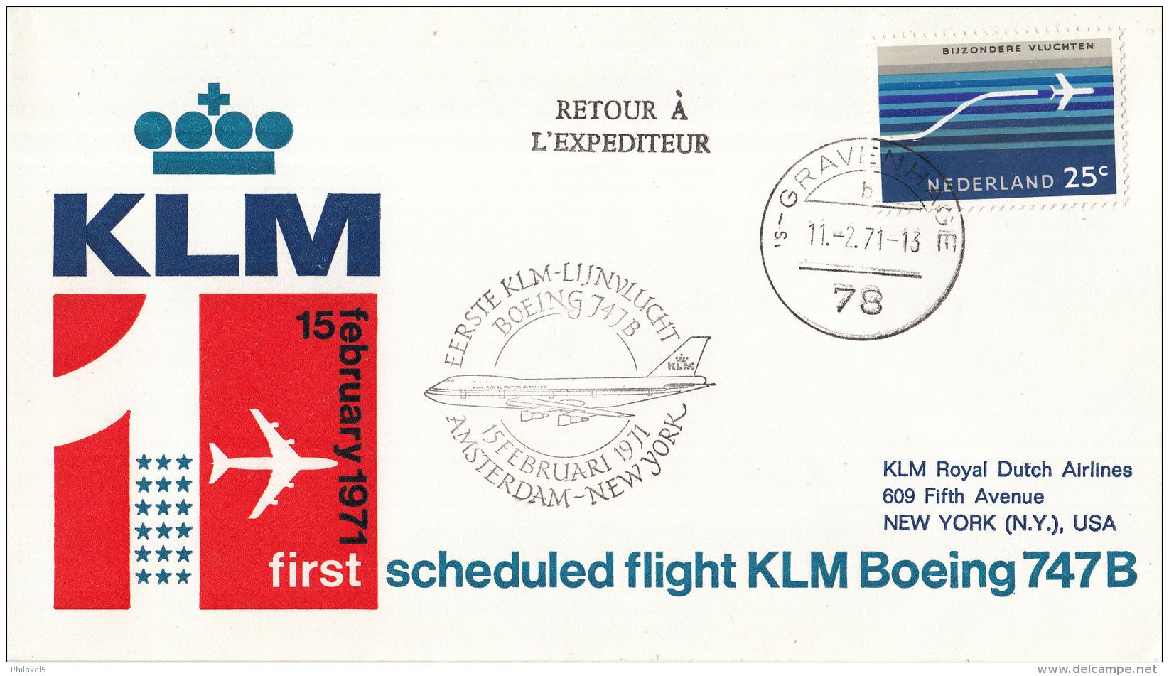 Nederland - 1ste Vlucht - 15 Februari 1971 - Amsterdam-New York - Vl. Hol. 836a - Marcofilie - EMA (Print Machine)