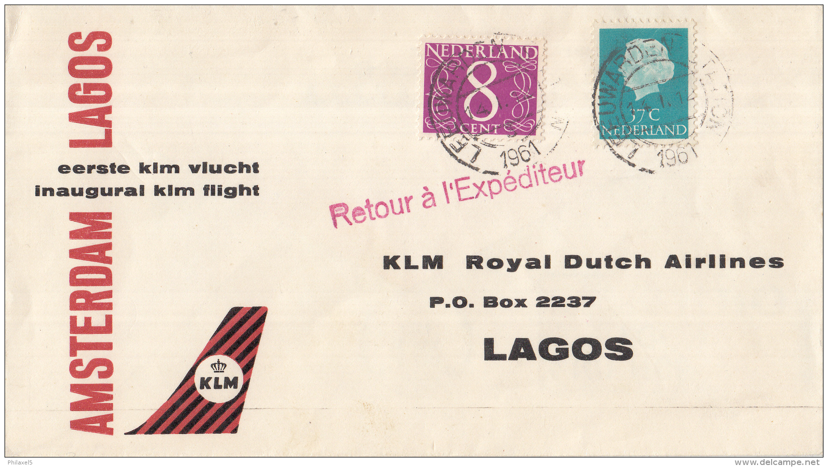 Nederland - 1ste Vlucht - 17 Januari 1961 - Amsterdam-Lagos - Vl. Hol. 570 I - Marcofilie - EMA (Print Machine)