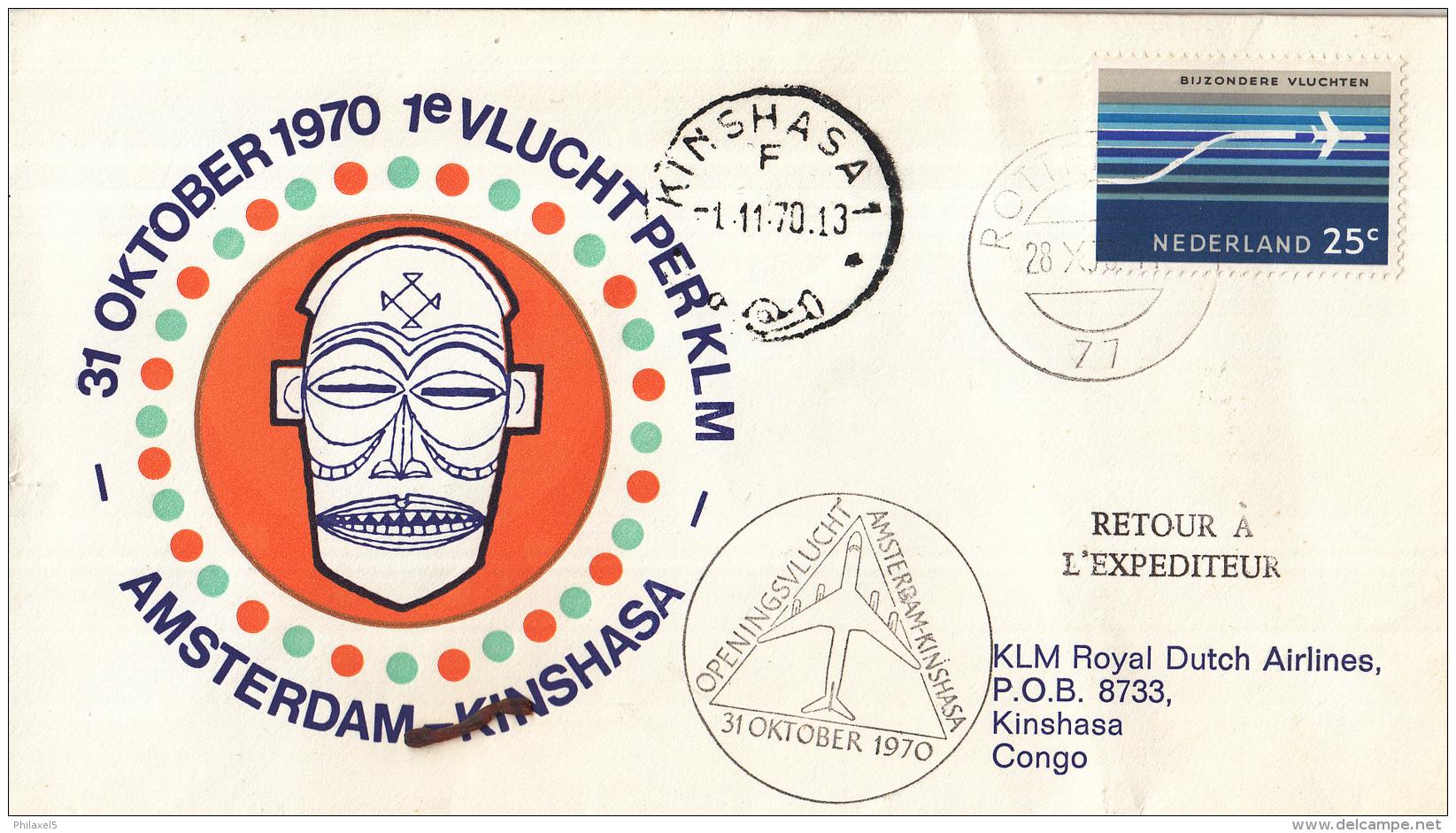 Nederland - 1ste Vlucht - 13 Oktober 1970 - Amsterdam-Kinshasa - Vl. Hol. 827a - Marcofilie - EMA (Print Machine)