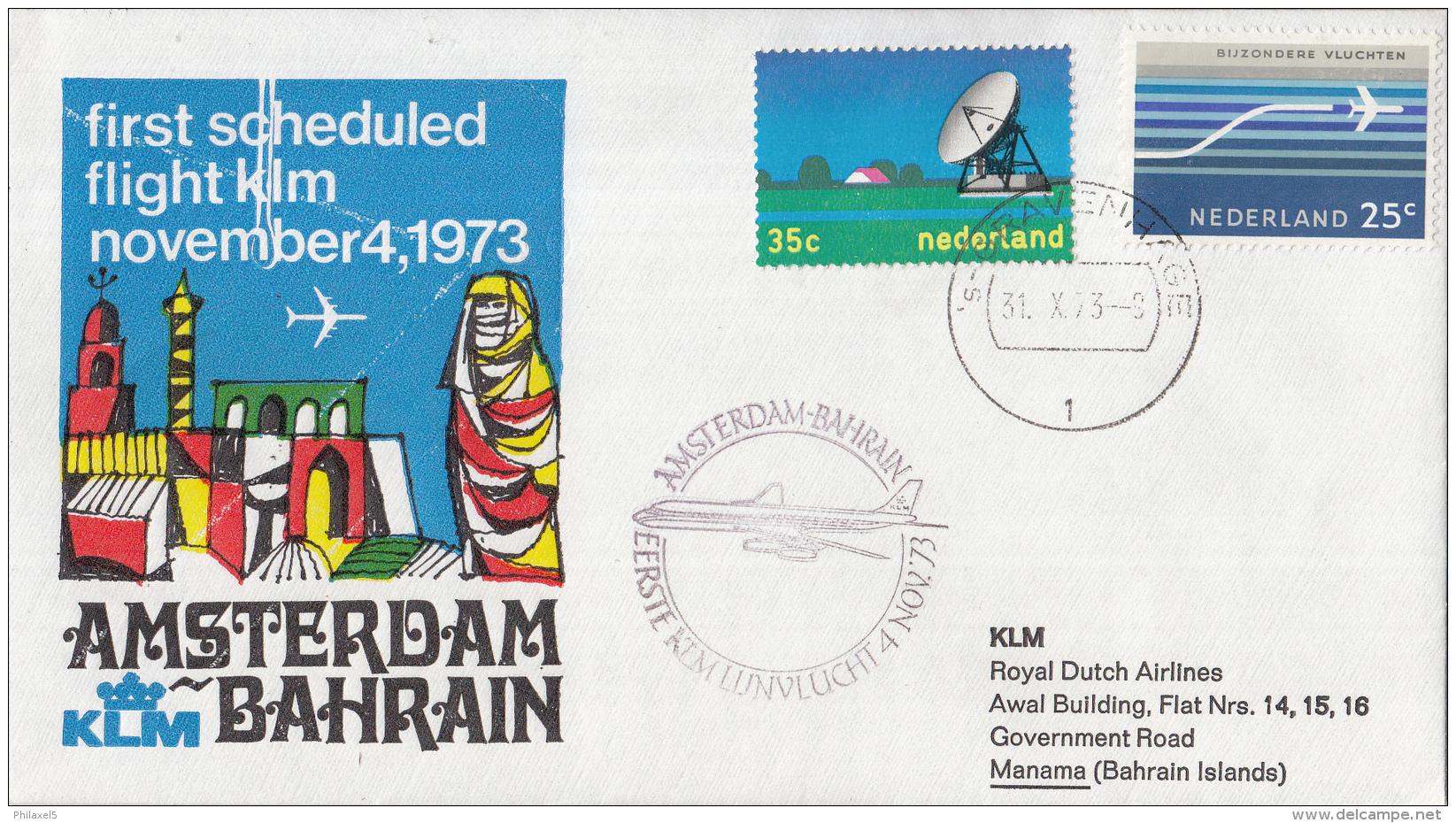 Nederland - 1ste Vlucht - 4 November 1973 - Amsterdam-Bahrain - Vl. Hol. 891a - Marcofilie - EMA (Print Machine)