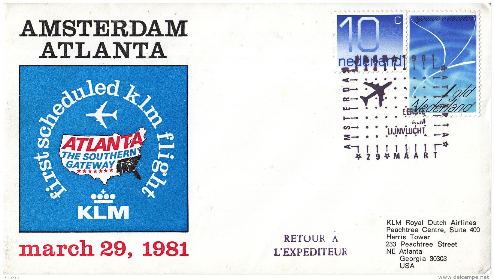 Nederland - 1ste Vlucht - 29 Maart 1981 - Amsterdam-Atlanta - Vl. Hol. 1011a - Marcofilie - EMA (Print Machine)