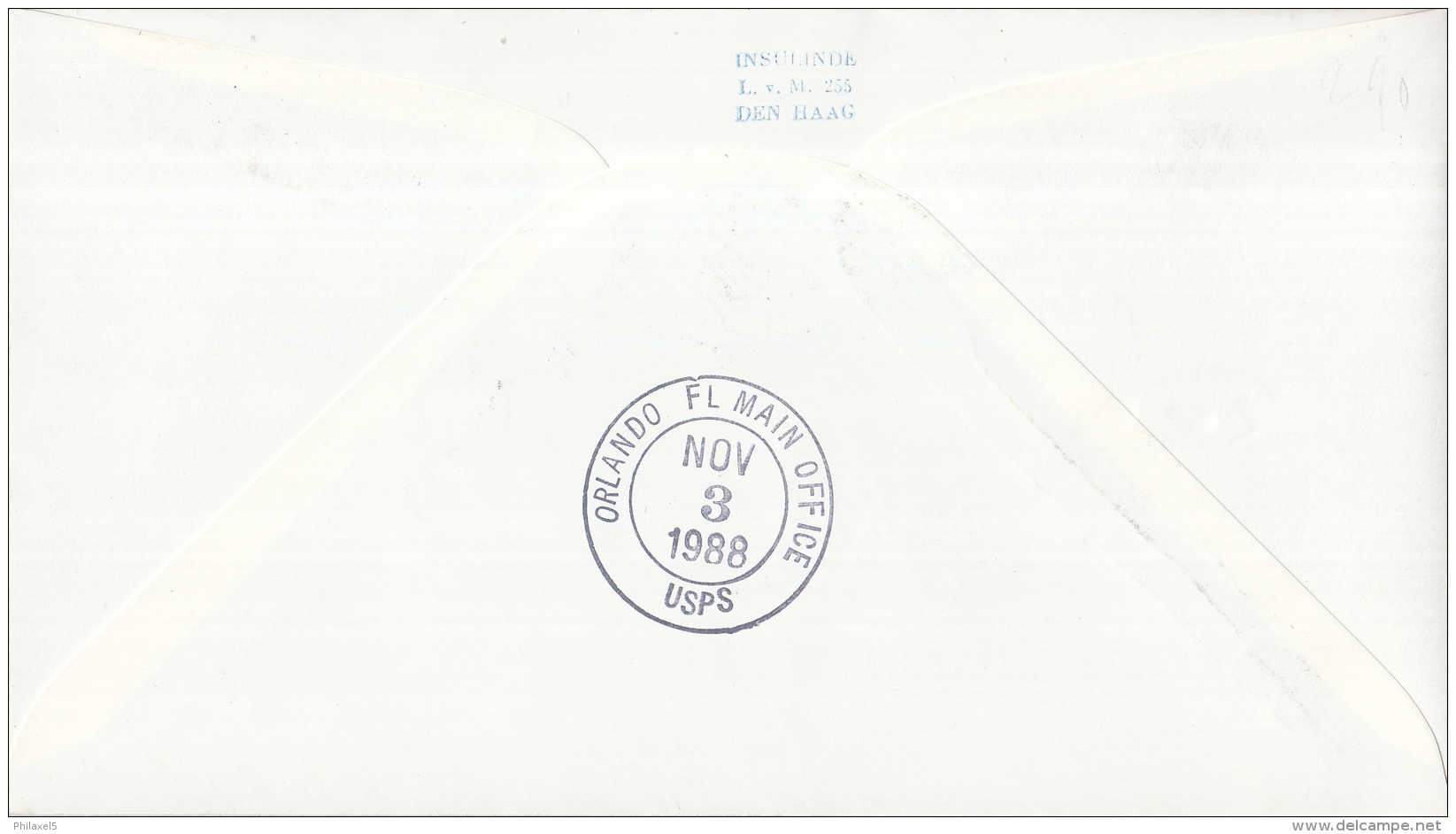 Nederland - 1ste Vlucht - 3 November 1988 - Amsterdam-Orlando, Florida - Vl. Hol. 1096a - Marcofilie - EMA (Print Machine)