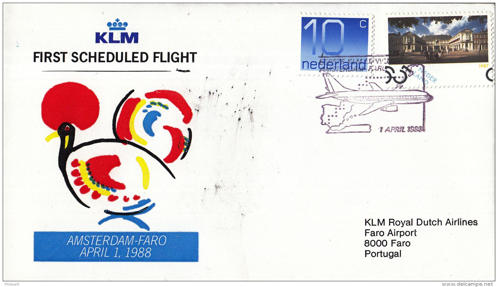 Nederland - 1ste Vlucht - 1 April 1988 - Amsterdam-Faro - Vl. Hol. 1089a - Marcofilie - EMA (Print Machine)