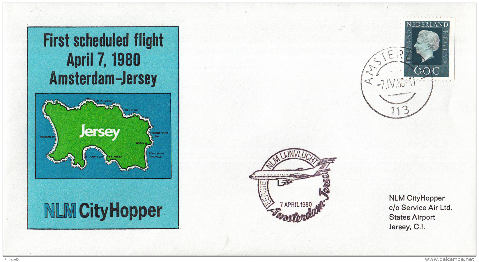Nederland - 1ste Vlucht - 7 April 1980 - Amsterdam-Jersey - Vl. Hol. 1002a - Marcofilie - EMA (Print Machine)