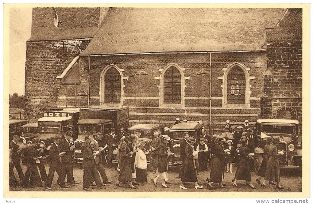 OOSTHAM (Ham)  -  Sint-Kristoffelfeest 1937 - Mooie Animatie - Optocht / Processie Aan De Kerk En Vele Auto´s - Ham