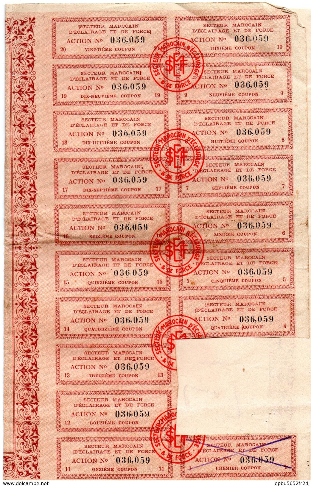 Action De 100 Francs  Secteur Marocain D'Eclairage Et De Force - Sept 1928-18 Coupons - N° 36,059 - Electricité & Gaz