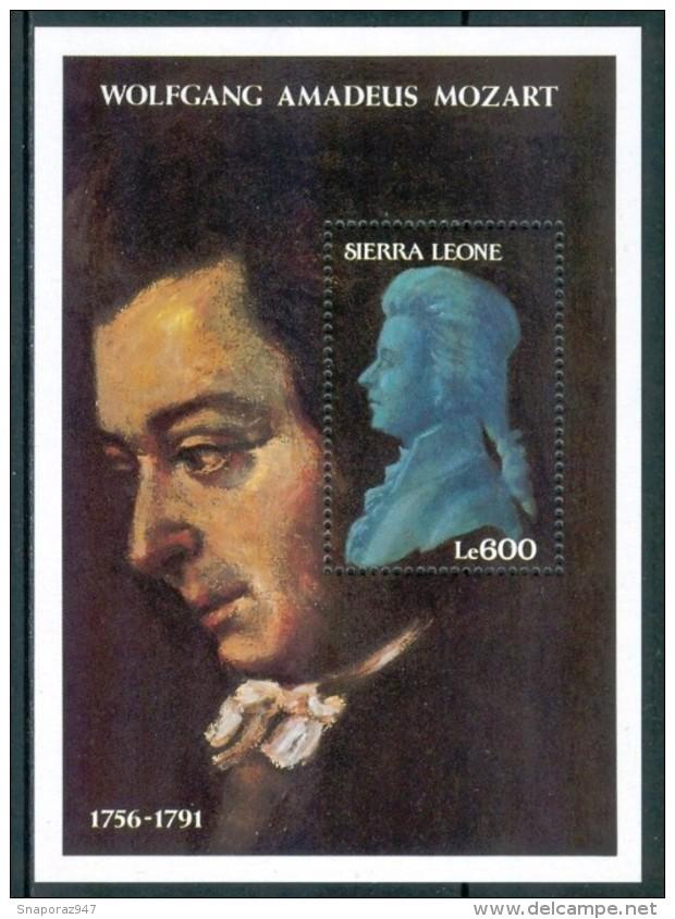 1991 Sierra Leone Mozart  Musicisti Musicians Musiciens Set + Block MNH**Sie38 - Sierra Leone (1961-...)