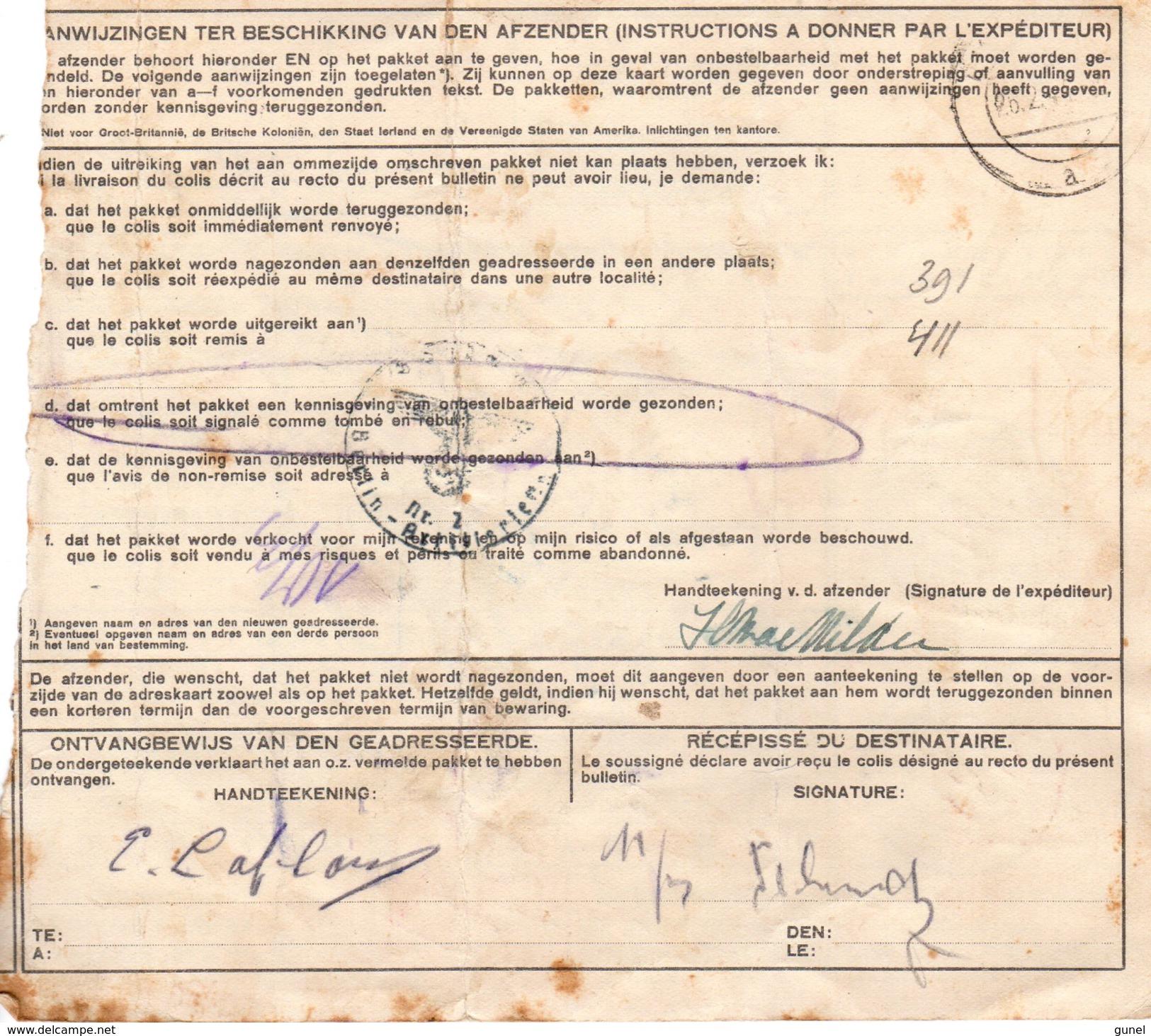 1944 Pakketkaart Van Haarlem  Via Zevenaar Naar Berlin Reinichendorf Met NVPH 391 En 411 Mit Nachgebühr - Brieven En Documenten
