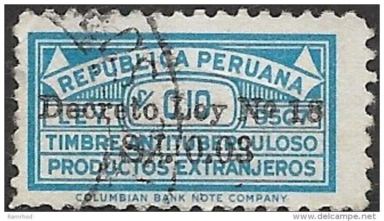 PERU 1949 Anti-tuberculosis Fund. Surch Decreto Ley No. 18 -  3c. In 10c. - Blue  FU - Peru