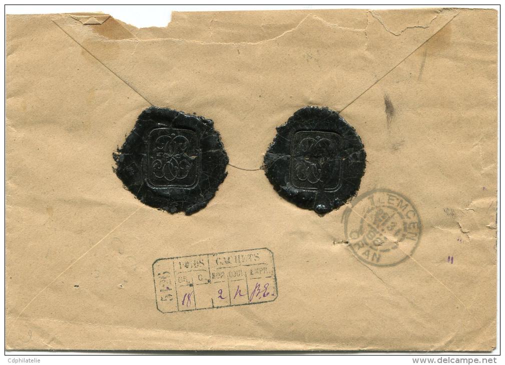 FRANCE LETTRE CHARGEE AFFRANCHIE AVEC UN N°75 + UN N°90 + 3 X LE N°97 DEPART LAMORICIERE 30 JANV 88 ORAN POUR TLEMCEN - Marcophilie (Lettres)