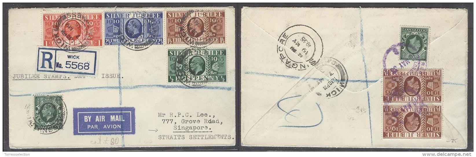 Great Britain - XX. 1935 (7 May). Wick - Singapore (19 May). Jubilee Rep Multifkd Airmail Env 9 1/2d Rate.. Carta, Co... - Great Britain