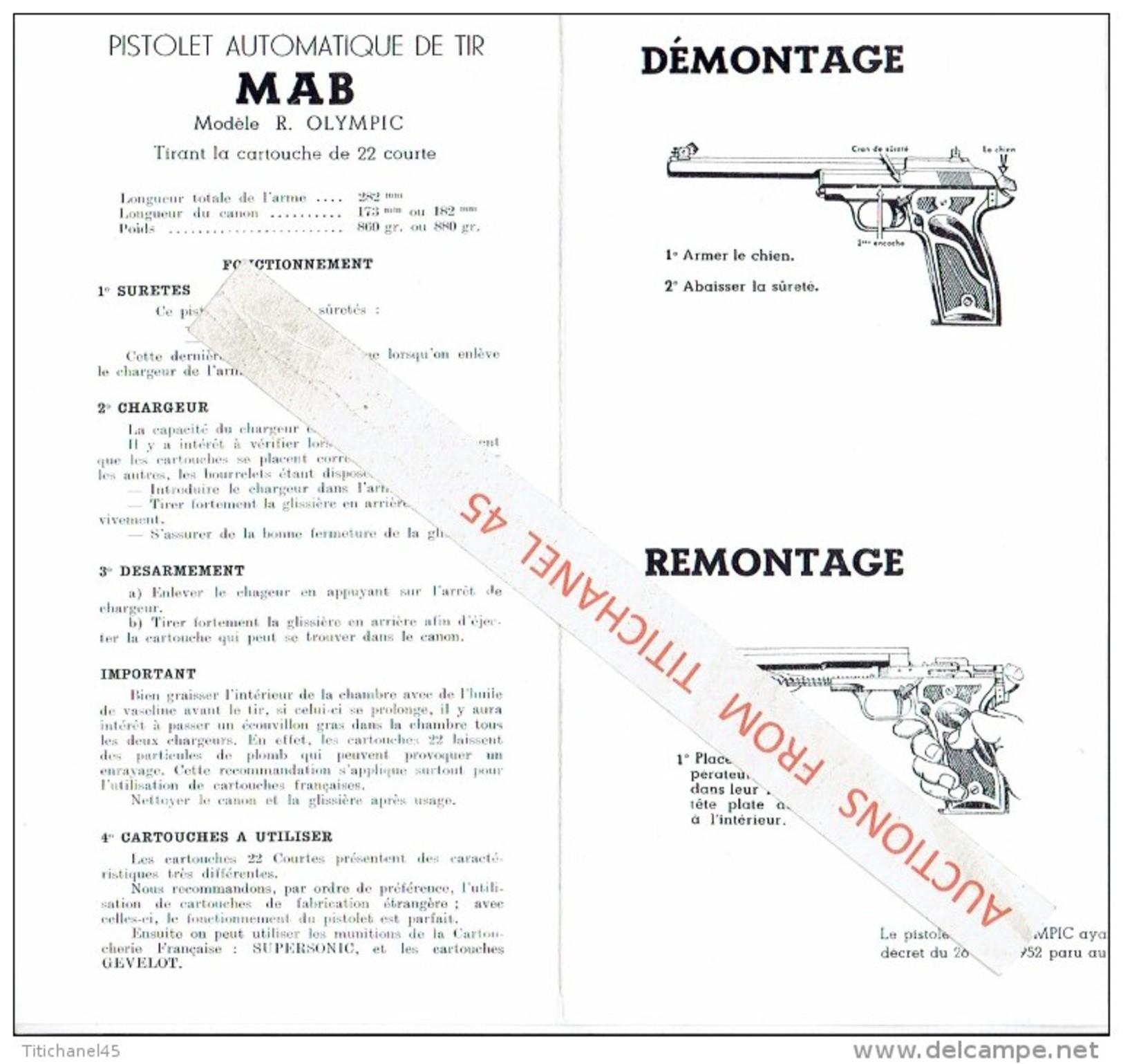 """Manuel PISTOLET Automatique """"MAB"""" Mod. R. OLYMPIC -MANUFACTURE D´ARMES AUTOMATIQUES à BAYONNE -fonctionnement, Démont. - Decotatieve Wapens"""
