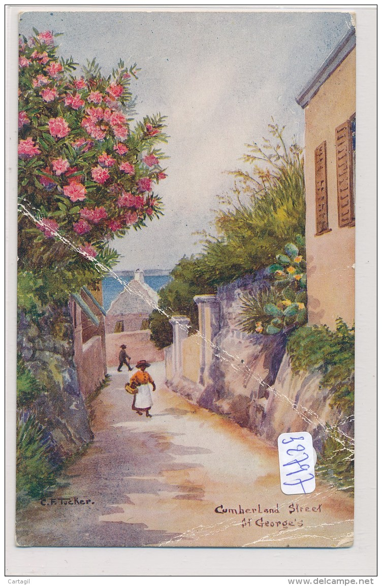 CPA  -Bermudes - St Georges - Cumberland Street - Dessin De Tucker ( En L'état -pli) - Bermuda