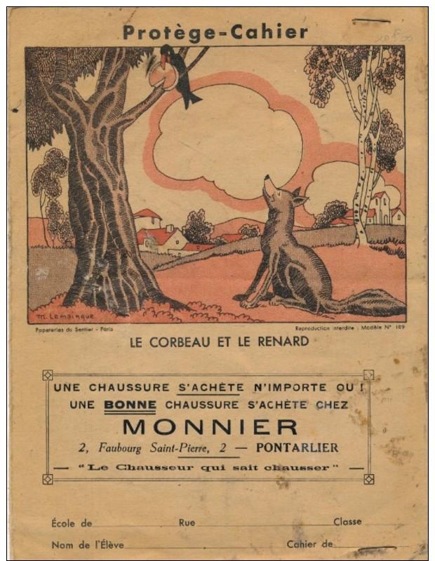 Protège-cahiers Du Magasin De Chaussure Monnier 2 Fg Saint-Pierre à Pontarlier, Le Corbeau Et Le Renard - Omslagen Van Boeken