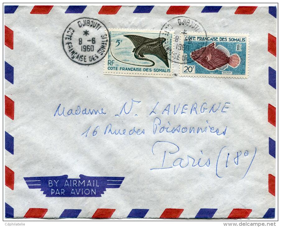 COTE FRANCAISE DES SOMALIS LETTRE PAR AVION DEPART DJIBOUTI 8-6-1960 POUR LA FRANCE - Lettres & Documents