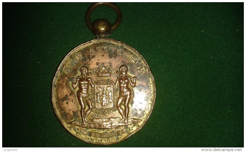 1887, Edouard Grielens, Opening Van De Vogelmarkt, Stad Antwerpen, 5de Wijk, 42 Gram (med301) - Pièces écrasées (Elongated Coins)