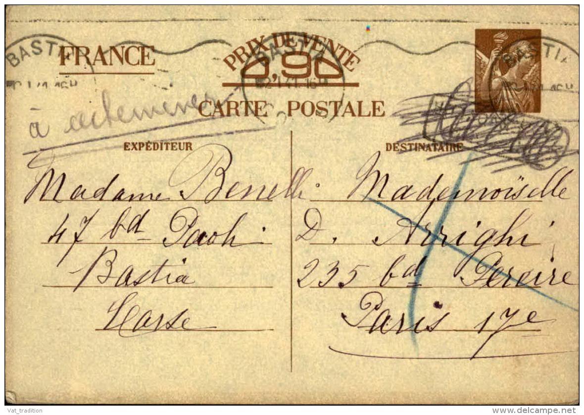 FRANCE - Entier Postal Type Iris De Bastia Pour Paris En 1941 - A Voir - L 5162 - Cartes Postales Types Et TSC (avant 1995)