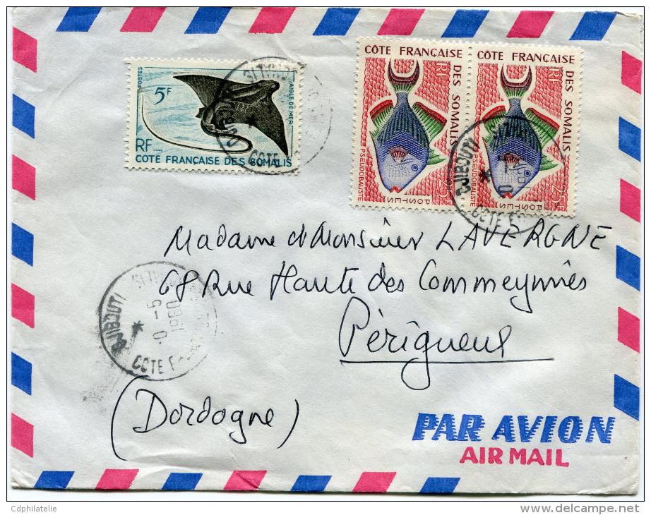 COTE FRANCAISE DES SOMALIS LETTRE PAR AVION DEPART DJIBOUTI ?0-5-1960 POUR LA FRANCE - Lettres & Documents