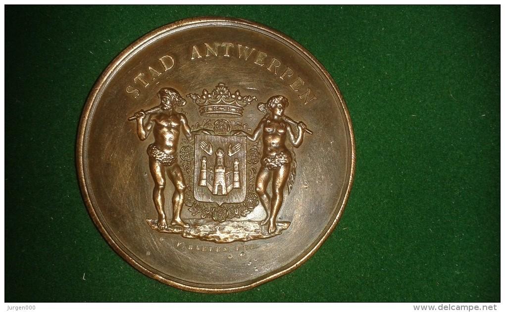 1890,  F. Baetes, Stad Antwerpen, Opening Museum Van Schoone Kunsten, 106 Gram (med307) - Souvenir-Medaille (elongated Coins)